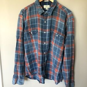 Lucky Brand Button Up Plaid Flannel Top XL